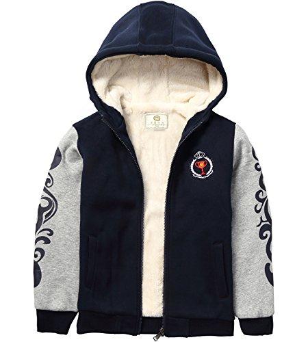 Little and big Boys Heavyweight Sherpa Fleece lined Jacket Warm Sweatshirt Hoodie (11-12Y(For 135-145cm height))