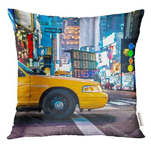 Sunmoohat Throw Pillow Cover Taxi Yellow Cabs in Manhattan NYC The Taxicabs of New York City at Night Time Street Traffic Decorative Pillow Case Home Decor Square 18x18 Inches Pillowcase