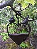 Garden mile® Unique Vintage Style Cast Iron Heavy Duty Hanging Bird Feeder Or Bath, Bronze bird feeding station table seed or peanut Decorative Garden Ornament