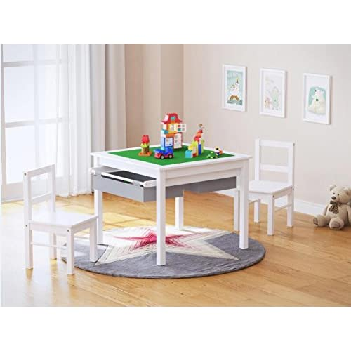 cheap UTEX 2-in-1 Kids Multi Activity Table and 2 Chairs Set with ...