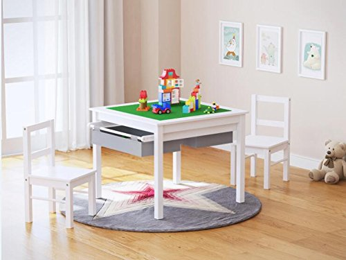 UTEX 2in1 Kids Multi Activity Table and 2 Chairs Set with Storage White