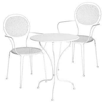 Ensemble De Jardin Jambi Table Et 2 Chaises Mtal Blanc