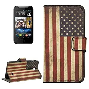 Retro USA Flag Pattern Horizontal Flip Magnetic Buckle Leather Case with Holder & Card Slots & Wallet for HTC Desire 310