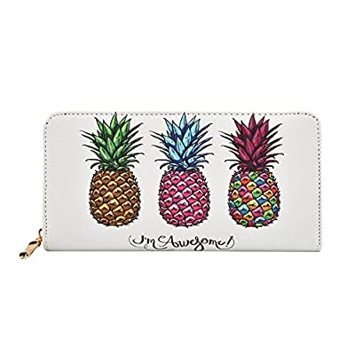 Kukoo Women Leather Long Zipper Wallet Pineapple Print Designer Clutch Purse Credit Card Holder