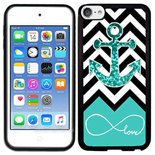TeleSkins Rubber TPU Case for iPod Touch 5 / iPod Touch 6 / iPod Touch 7 - Infinite Love Teal Glitter Anchor - Ultra Durable Slim Fit, Protective Plastic with Soft Rubber TPU Snap on Back Case/Cover (Case Ipod Wood 5)