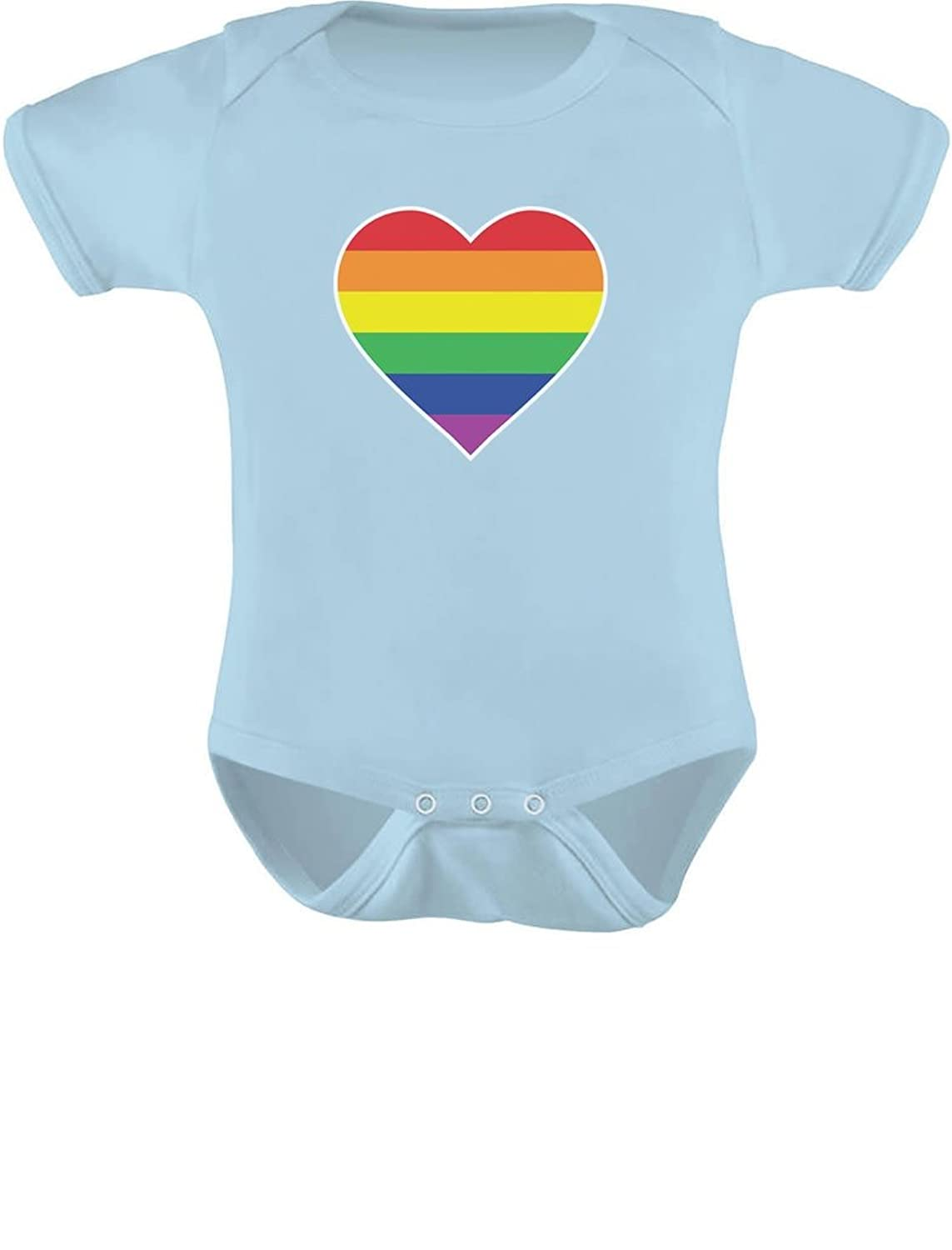 07d54663 Best gift idea for a baby shower. Official Teestars Merchandise. Printed in  the USA Love Heart Gay Pride Rainbow Flag Baby Shirts.