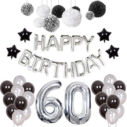 60th Birthday Decorations Puchod Happy Banner Kit Number 60 Foil Ballon Party Set With