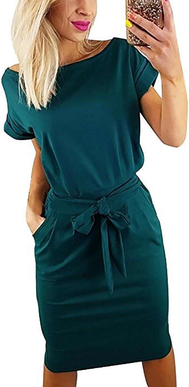 Vruan Sommerkleider für Frauen Kurzarm Taschen Casual Swing T-Shirt Frauen  Tag Kleid Frauen 18 Farbe Größe 18-18