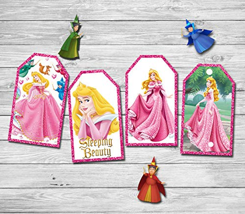 (RubyShopUU Princess Aurora Thank You Tags Labels Gift Favors Sleeping Beauty Birthday Party Decorations Kids Party Supplies Candy Bag)