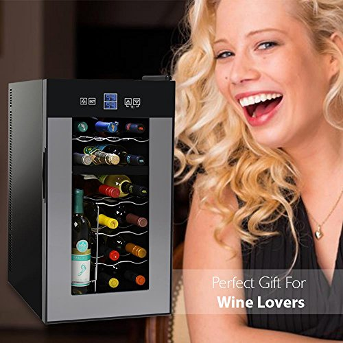 NutriChef Thermoelectric Wine Cellar - Red and White Wine Cooler- Dual Zone Wine Chiller - 18 Bottles Countertop Wine Refrigerator - LCD Display Digital Touch Controls – Great for Home or Events by NutriChef (Image #5)