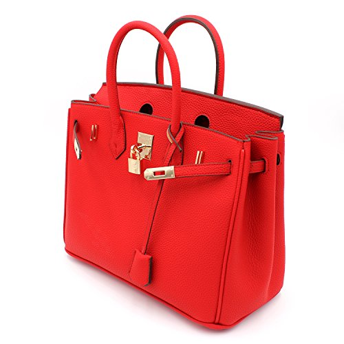 Fashion Top Padlock Inspired With Handle Designer Red Satchel Handbag tqz5PfZ7w