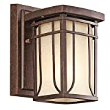 Kichler Lighting Kichler 49146AGZ Riverbank 1-Light Outdoor Wall Lantern, Aged Bronze with White Linen Mist Glass