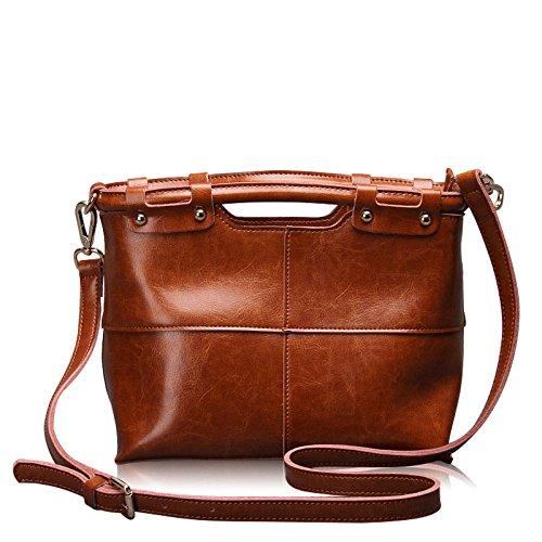 Retro Handbag Bag Genuine Leather Cow Skin Bag For Ladies Shoulder Messenger Wax Fashion Brown Oil