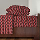 Roostery Hearts 3pc Sheet Set Valentina's Hearts In Black And Red by Siya Twin Sheet Set made with