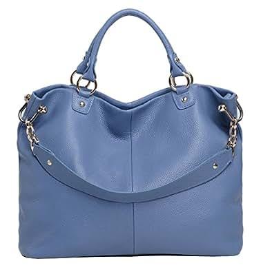 Obosoyo Fashion Women Soft Leather Top-handle Tote Shoulder Bag Blue