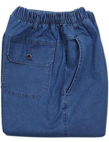 Hombres Primavera Azul rectos Claro Pantalones Youlee Jeans elástica Verano Cintura awEaZqd