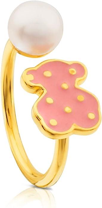Anillo TOUS Face, plata vermeil baño de oro de 18kt con esmalte rosa