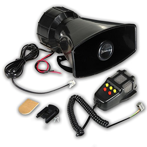 Zento Deals 80W Car Siren Horn With Mic PA Speaker System Emergency Sound Amplifier-5 tones