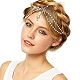Head Chain Gold Tone Indian Style Crystal Water Drop Hair Pendent Circular Head Chain Headpiece
