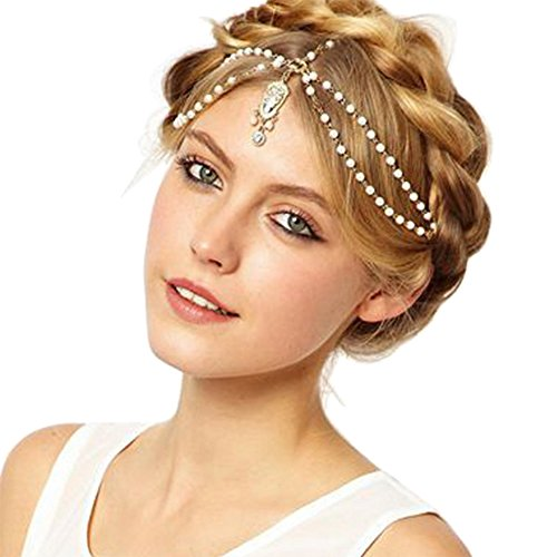 Head Chain Gold Tone Indian Style Crystal Water Drop Hair Pendent Circular Head Chain (Indians Head)
