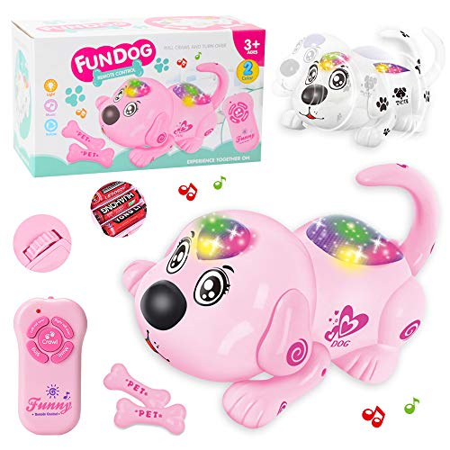 Erencook Pet Dog Toy Robotic Puppy, Remote Crawling Rollover Toy Dog Early Childhood Educational Children's Toys Walking Dancing Music for Boys or Girls Gifts (Pink)