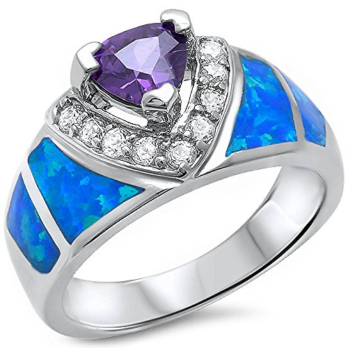 Amethyt, Lab Created Blue Opal, Cz New Fashion .925 Sterling Silver Ring Sizes 5-10