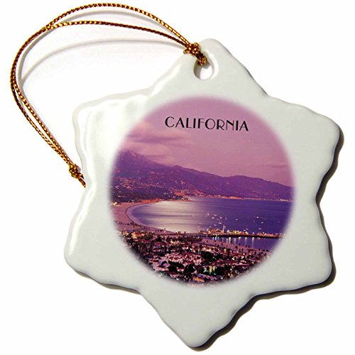 3dRose orn_62547_1 Santa Barbara California at Night Snowflake Decorative Hanging Ornament, Porcelain, 3-Inch