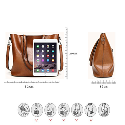 Bucket Handbag Brown Coolives Coffee Long Dark Tote Women Strap Shoulder nH5H4AqCxw