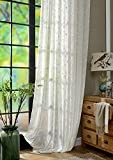 ASide BSide Countryside Style Leave Embroidered Sheer Curtains Drapes Rod Pockets Elegant Window Treatments for Living Room Bedroom and Kids Room (1 Panel, W 50 x L84 inch, White)