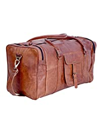 Komal's Passion Leather 21 Inch Square Duffel Travel Gym Sports Overnight Weekend Leather Bag