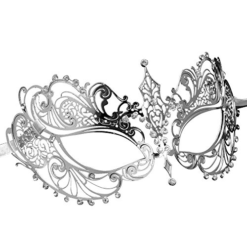 Dance Trends Costumes - ASVP Shop Masquerade Mask with Crystals from Shades Darker Film - Stunning All Metal Lace Goddess Style - Silver/Grey