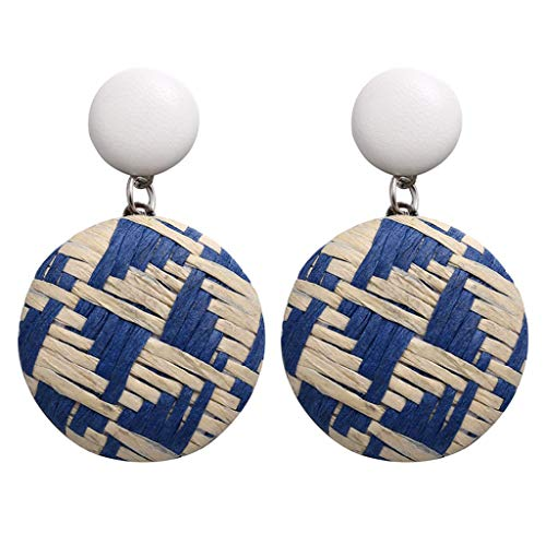 Sacow Rattan Earring, Bohemian Style Wood Bamboo Rattan Geometric Round Earrings Ladies Jewelry (Blue)