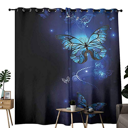Mannwarehouse Dark Blue Windshield Curtain Fantasy Magical Butterflies Monarch Artistic Morpho Inspiration Animal Darkening and Thermal Insulating W96 x L108 Cobalt Blue -