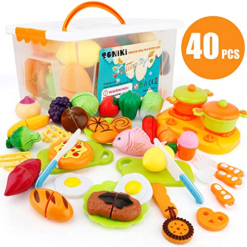 SONi 40 PCS Kitchen Toys Cutting Toys Pretend Vegetables Fruits Play Food Educational Toys for Girls Boys Kids with Storage Case