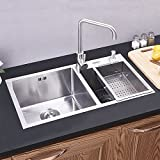 Double Bowl Kitchen Sink 304 Stainless Steel 32 Inch Silver