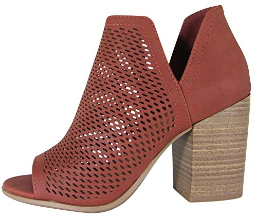 Cambridge Select Women's Open Toe Perforated Caged Laser Cutout Chunky Stacked Block Heel Ankle Bootie,7 B(M) US,Dark Rust Nbpu