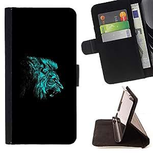 BullDog Case - FOR/Apple Iphone 5C / - / BLUE LION ROAR /- Monedero de cuero de la PU Llevar cubierta de la caja con el ID Credit Card Slots Flip funda de cuer