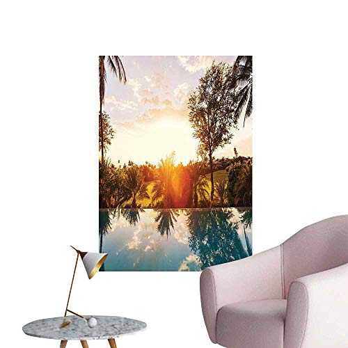 Vinyl University Pool - Wall Stickers for Living Room Swimm Pool at Sunset Palms Private Villa R ort Scenic View Orange Vinyl Wall Stickers Print,32