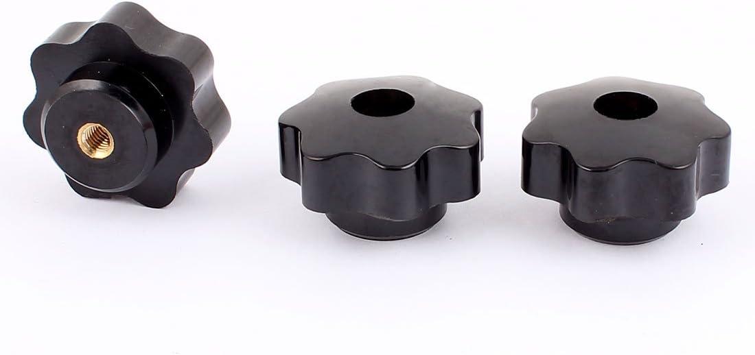 1PC 6mm Female Thread Diameter Screw On Type Clamping Star Knob Black M6 x 40mm