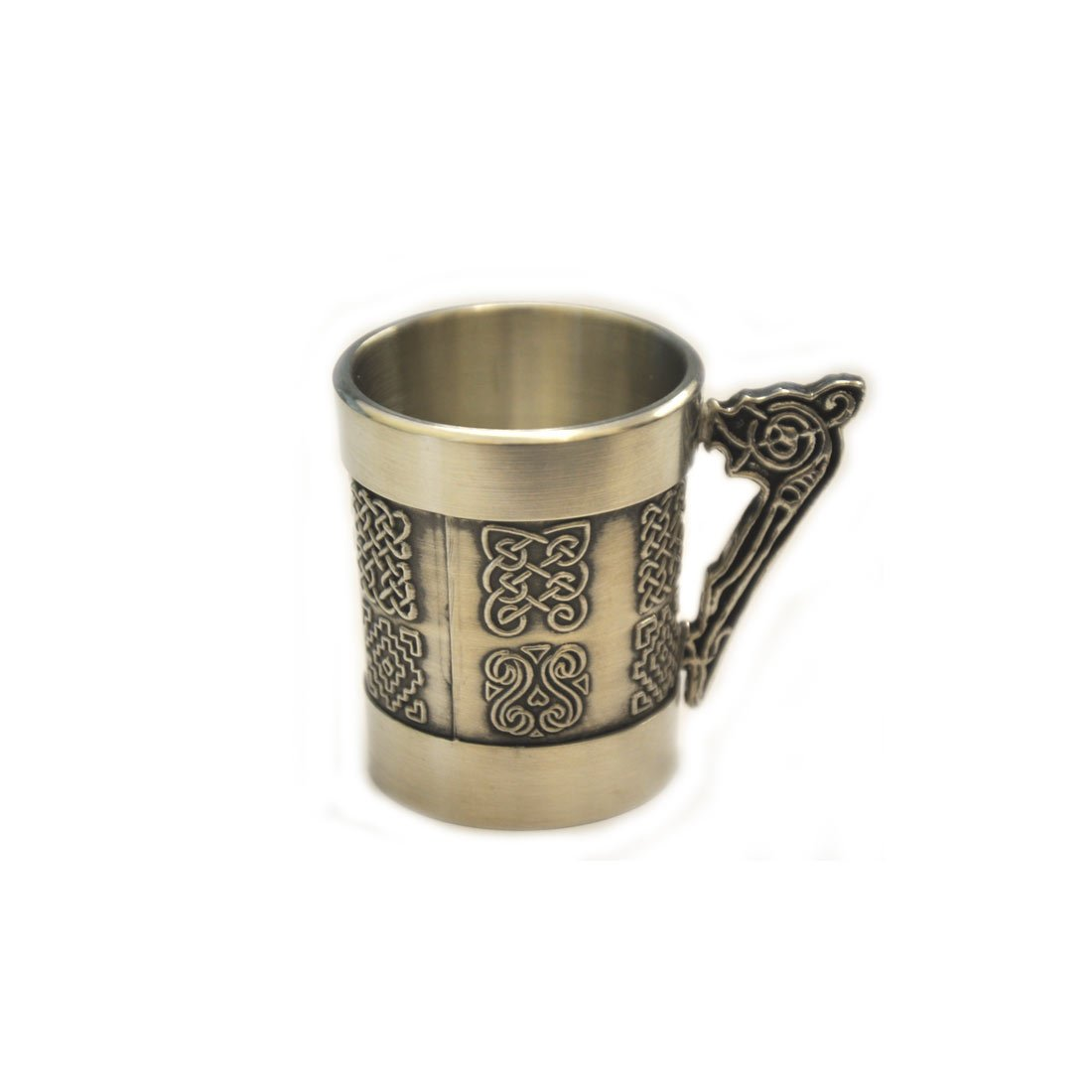 Mullingar Pewter Whiskey Measure With Celtic Handle And Celtic Design