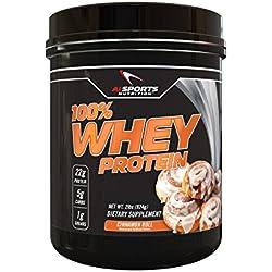 100% Whey Cinnamon Roll Protein Powder by AI Sports Nutrition | 100% Whey Protein 2 lbs (28 Servings) Amazing Cinnamon Flavor