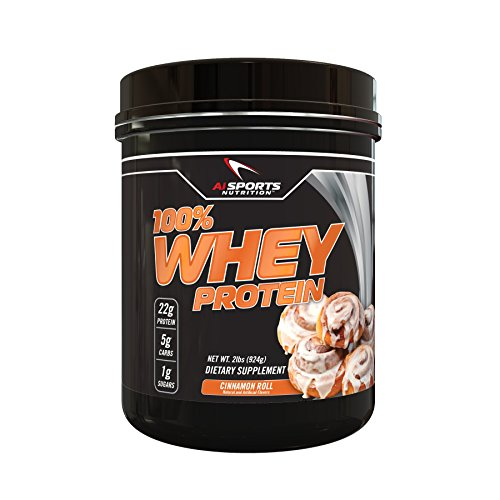 100% Whey Cinnamon Roll Protein Powder by AI Sports Nutrition | 100% Whey Protein 2 lbs (28 Servings) Amazing Cinnamon Flavor