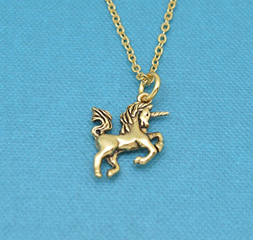 Little girls unicorn necklace in 24K gold plated pewter on a 14 stainless steel cable chain with two inch extender. Unicorn necklace.