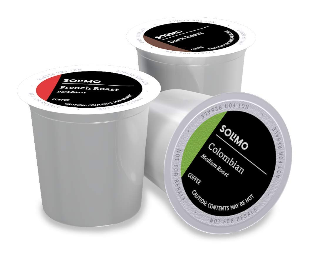 Solimo Assorted pack (French, Dark, Colombian) single serve cups, 100 ct