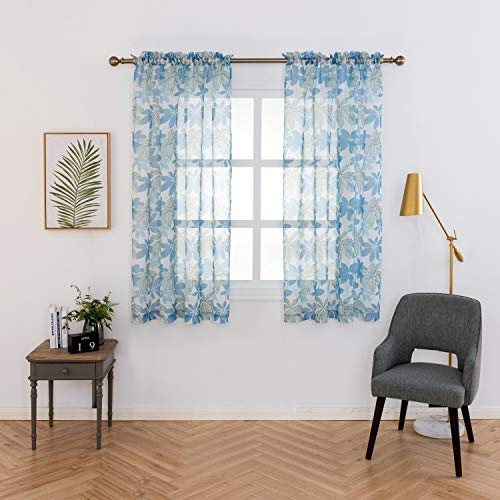 Anjee Sheer Blue Leaf Curtains 63 inches, Rod Pocket Semi Sheer Printed Curtains for Kitchen, Study Room, Nursery, 2 Panels, Each Panels 52