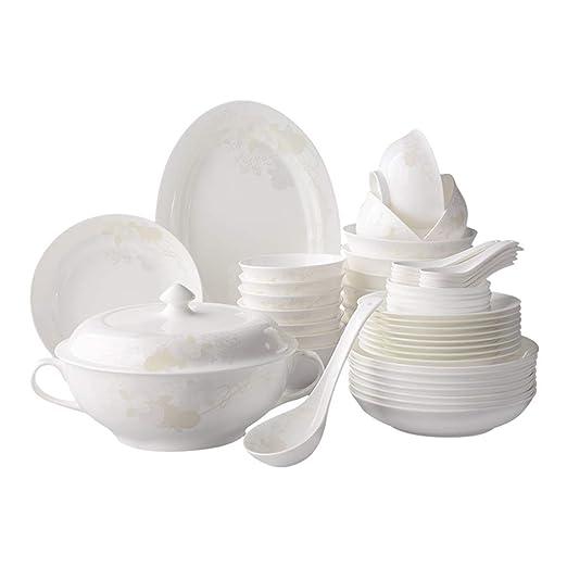 YL Cena Combi-Set - Juego de 50 Piezas, Tazones de Porcelana ...
