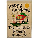 Happy Campers 5th Wheel Personalized Campsite Sign, Garden Flag, Customize Your Way (Red/Gray) Review