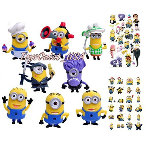 Minions Action Figures | Despicable Me Set of 8 Piece Toys Cake Topper + Minion Stickers ()