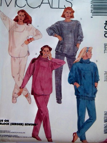 McCall's # 4516 Misses Tops, Detachable Cowl Pants For Stretch Knits Sewing Pattern Size: 10-12