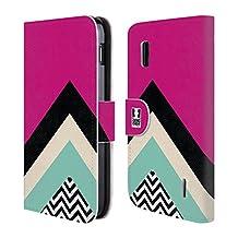 Head Case Designs Fuchsia Colour Block Chevron Leather Book Wallet Case Cover For LG V10